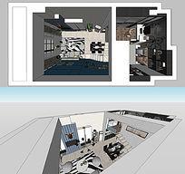 公寓隔层两层草图skp设计室内现代风格设计 skp