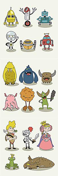 卡通手绘人物怪兽视频游戏AI矢量素材