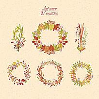 秋天树叶组成的花圈装饰设计