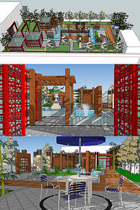 新中式屋顶花园图片