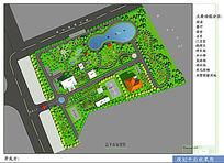 办公区公园式景观彩色平面 PSD