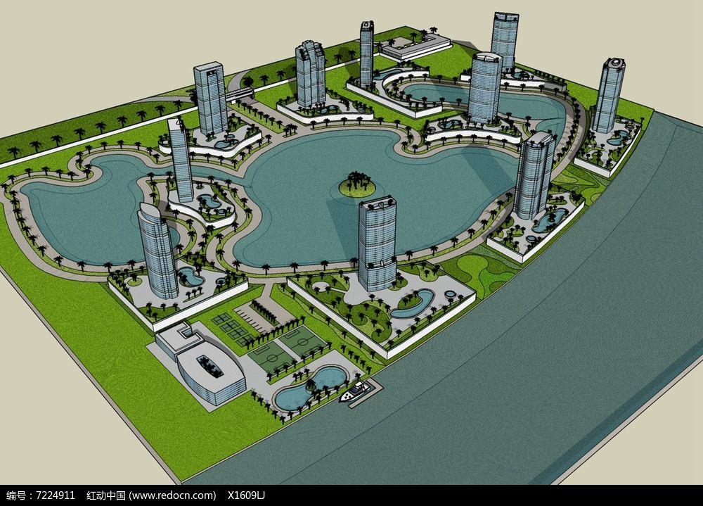 滨水城市小区图片