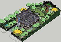 多层建筑别墅花园景观