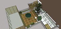简约竹排廊架庭院景观
