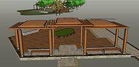 双层木质廊架