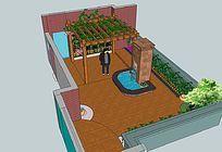 水景池木廊架庭院景观