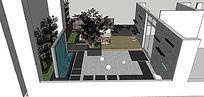 现代流水景墙休闲庭院