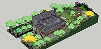 中式古典观赏楼庭院景观