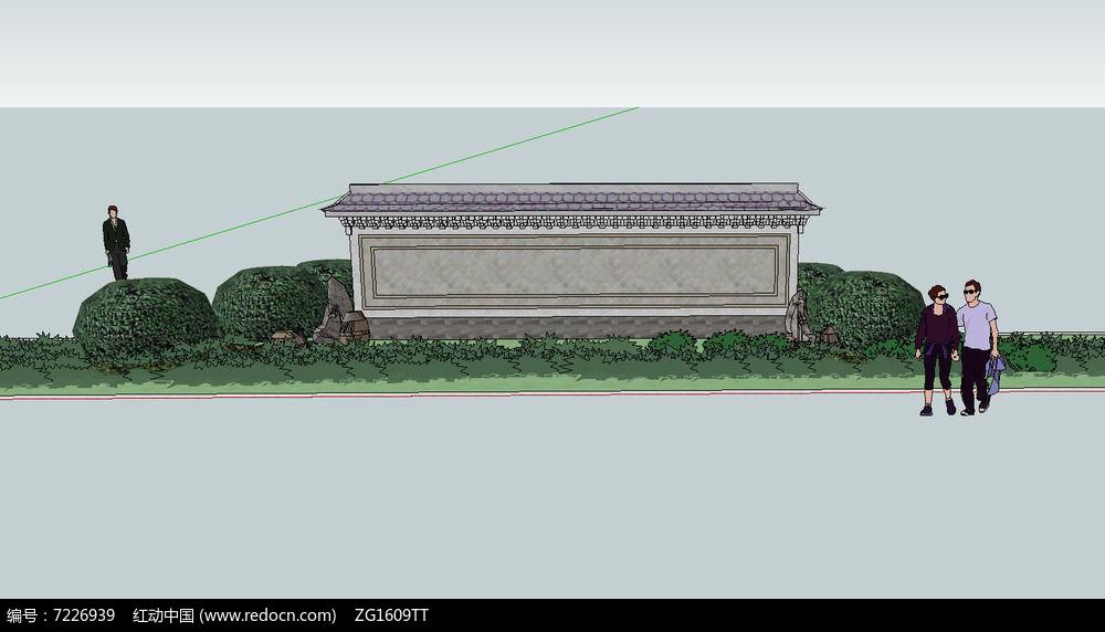 中式入口景墙景观图片