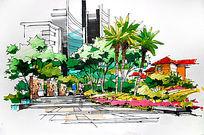 城市花园景墙手绘