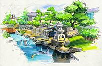 河滨休闲景观手绘