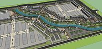 河道景观广场模型