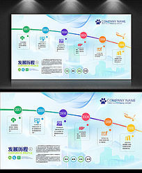 蓝色简约企业发展历程文化展板