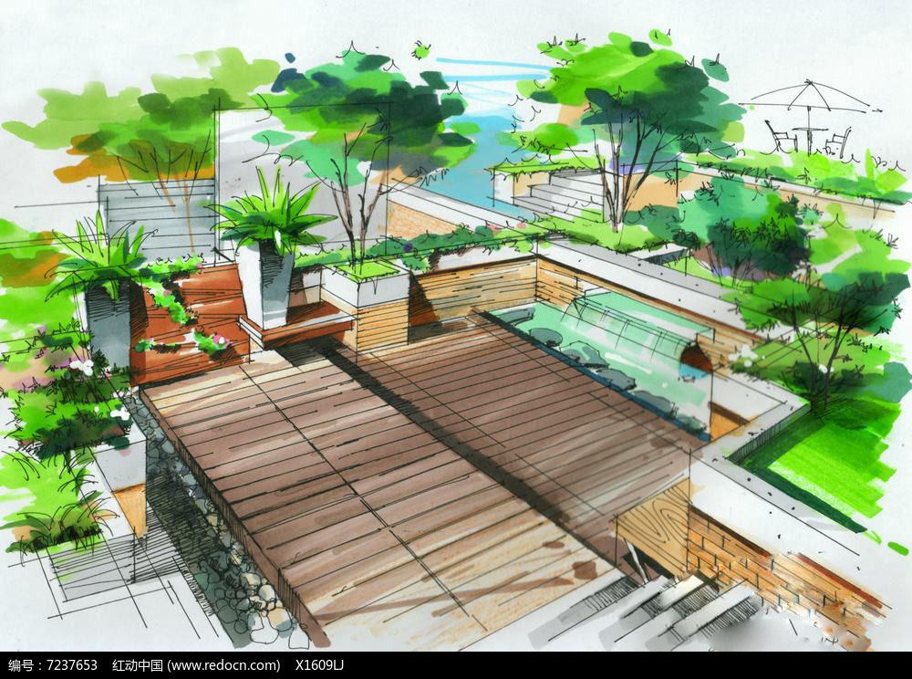 木平台景观手绘图片
