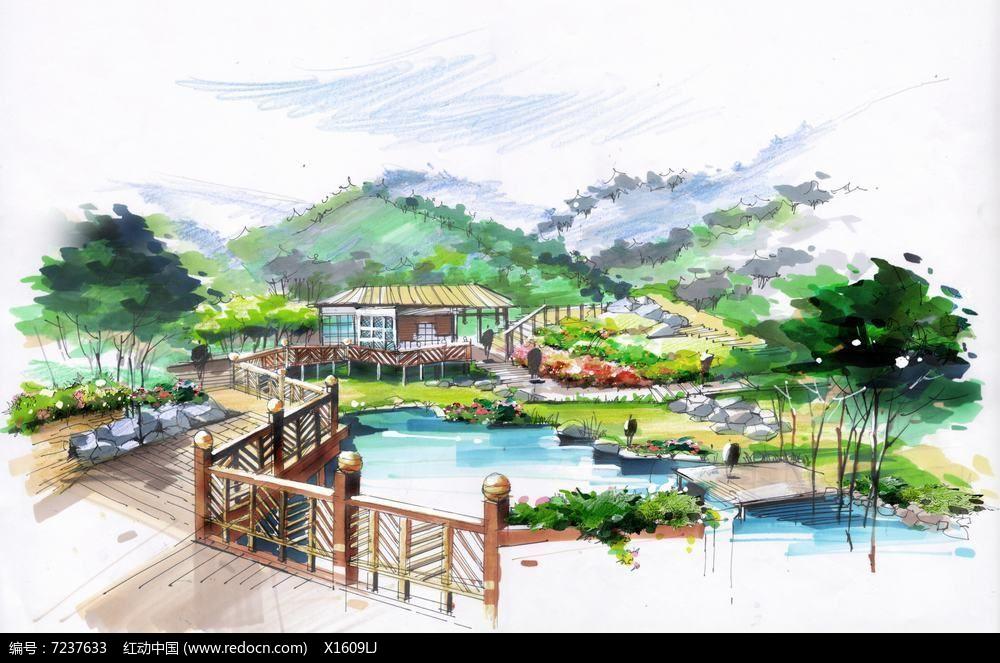 木栈桥景观手绘