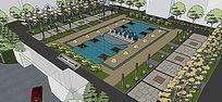 校园广场完整景观模型