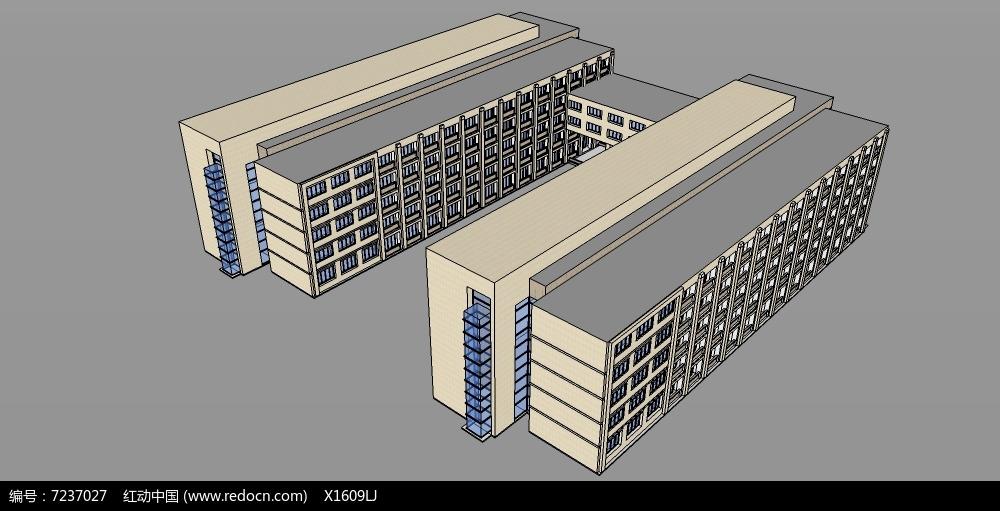 原创设计稿 3d模型库 建筑 学校宿舍楼  请您分享: 红动网提供建筑