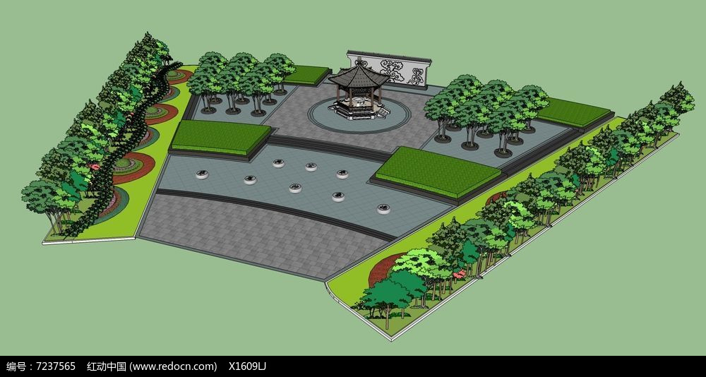 中式文化公园广场景观