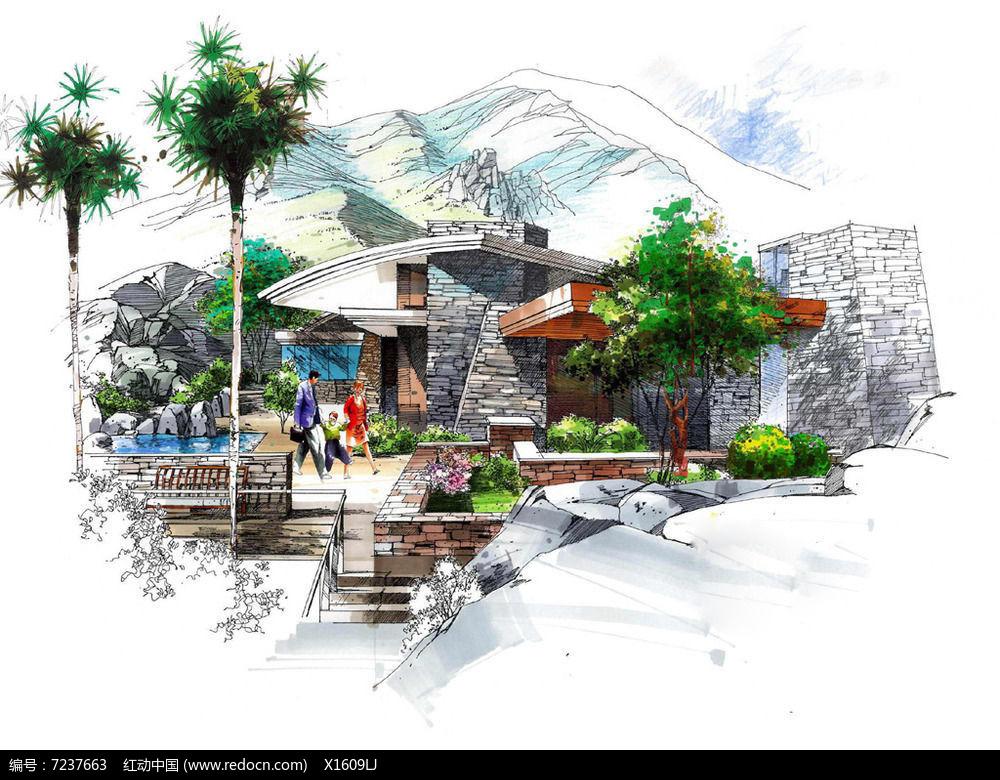 砖砌别墅景观手绘