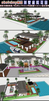 别墅庭院花园设计3d模型