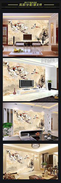 大理石山水画江山如画中式石纹背景墙