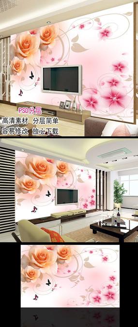 梦幻玫瑰花客厅电视背景墙壁画