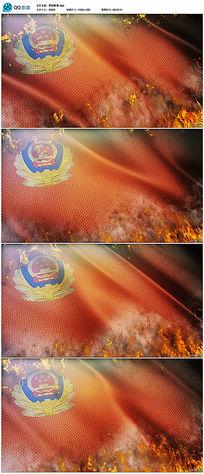 燃烧的中国警察警徽视频素材