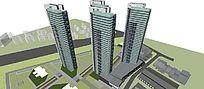 现代住宅高层平面立面总图方案