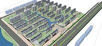 小区住宅高层多层平面立面总图skp