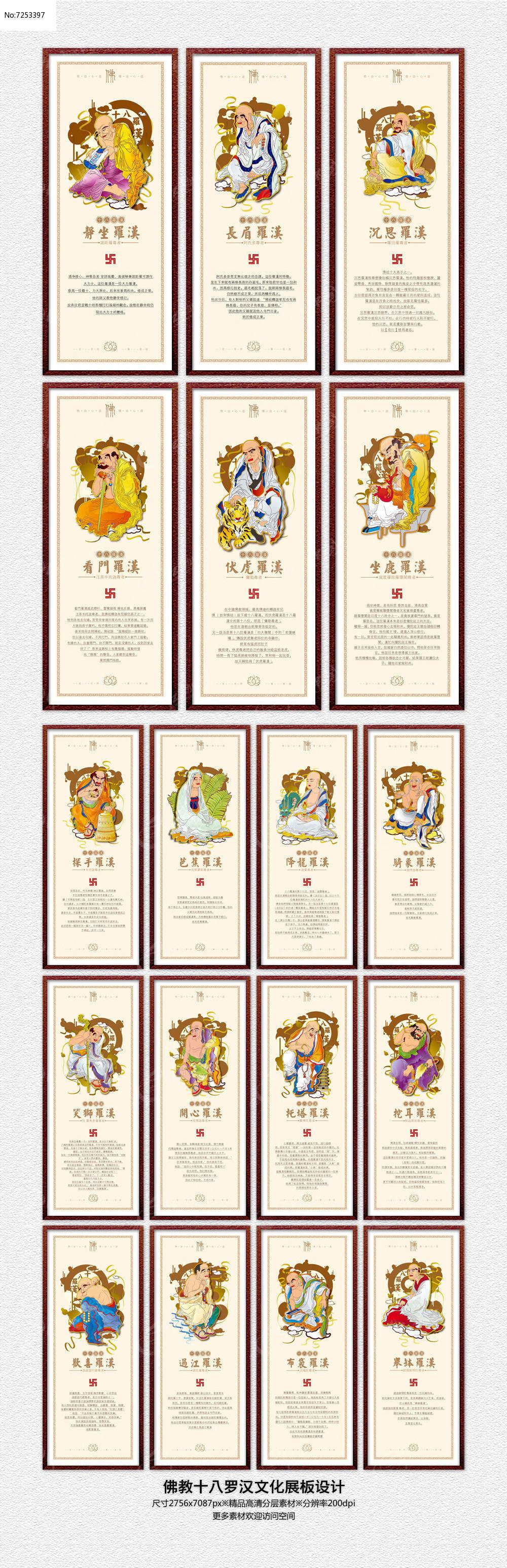 中国佛教文化十八罗汉文化展板设计图片
