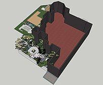 个人私家花园的SU模型整体下半部分-