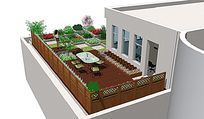 露台花园景观设计SU模型