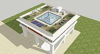 欧式别墅带天台花园的su模型