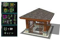 sketchup景亭模型  附带cad施工图图纸