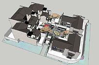 现代的中国式庭院的SKP模型素材设计-