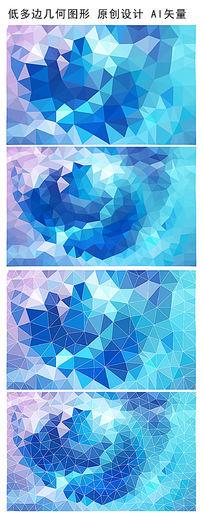抽象蓝色低多边形PPT底纹