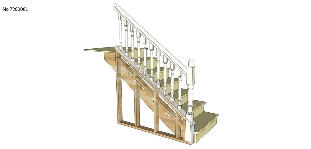大理石楼梯su模型