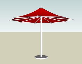 红色多骨架收缩遮阳伞