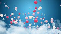 气球粉色蓝天白云庆典视频素材