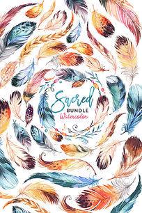 手绘水彩印第安风格羽毛创意海报背景素材