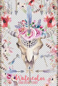手绘水彩印第安风格羽毛花朵箭头牛头创意元素