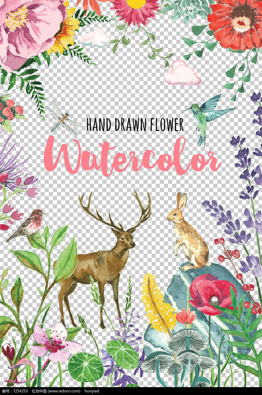 唯美手绘复古草小鸟花朵兔子鹿印花设计元素图片