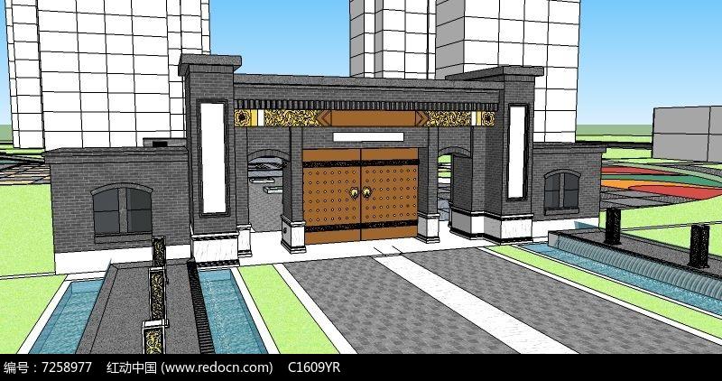 新中式大门入口图片