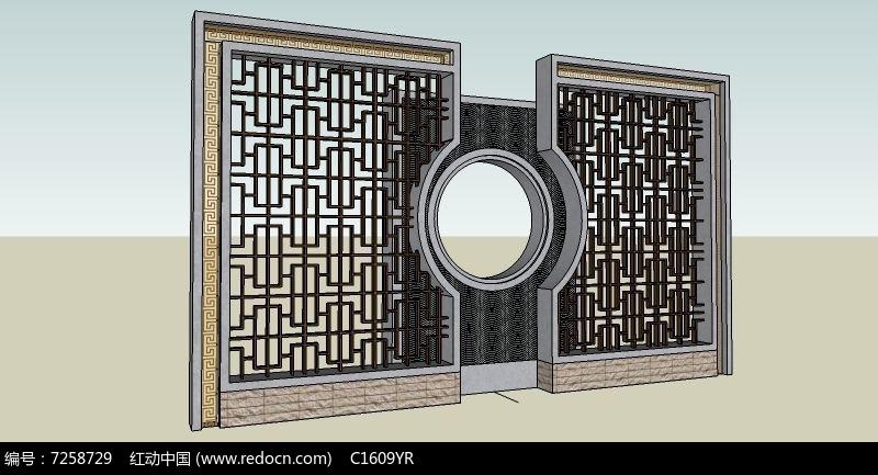 圆形空窗镂空景墙图片