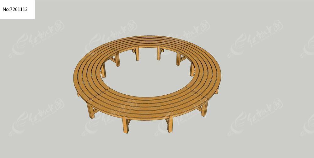 圆形木质围花坛座椅