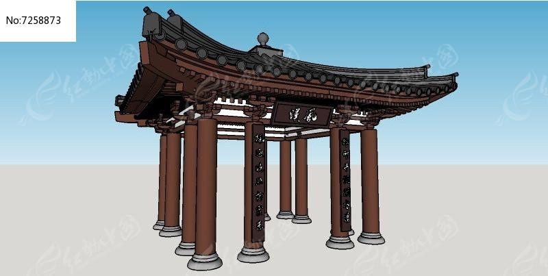 中式飞檐亭子skp素材下载_构筑物设计图片图片