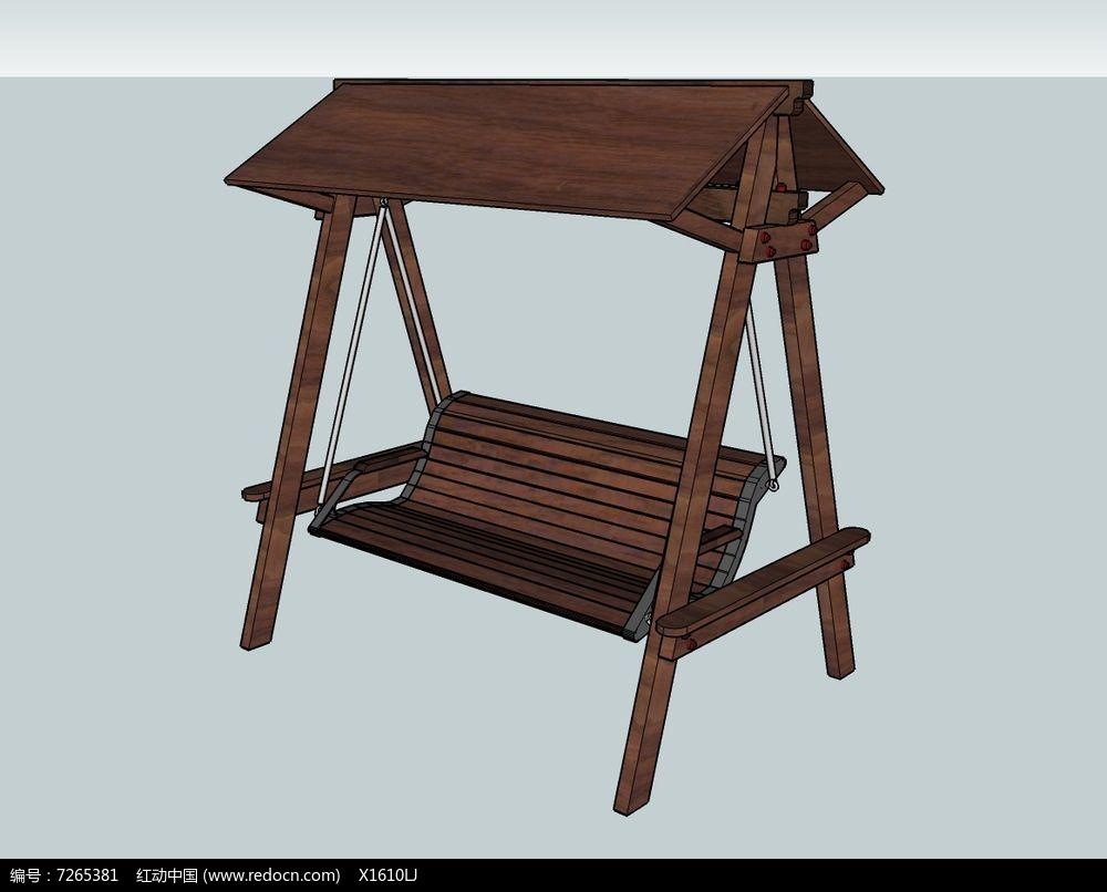 仿古式遮阳木质秋千座椅skp素材下载