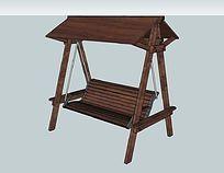仿古式遮阳木质秋千座椅 skp