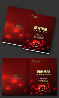 红色玫瑰花纹画册封面