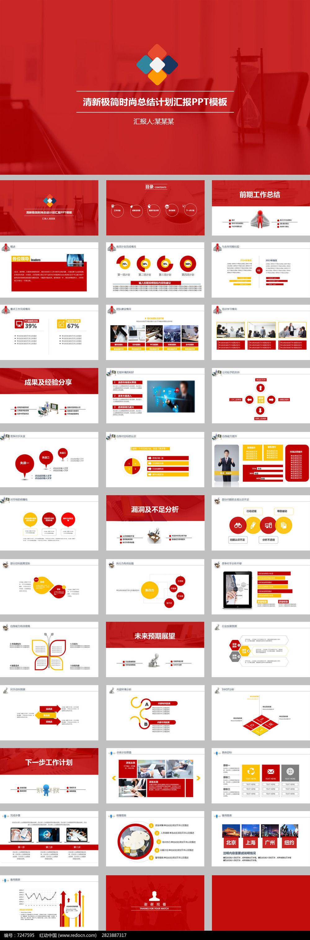 红色欧式简洁简约工作报告ppt模板